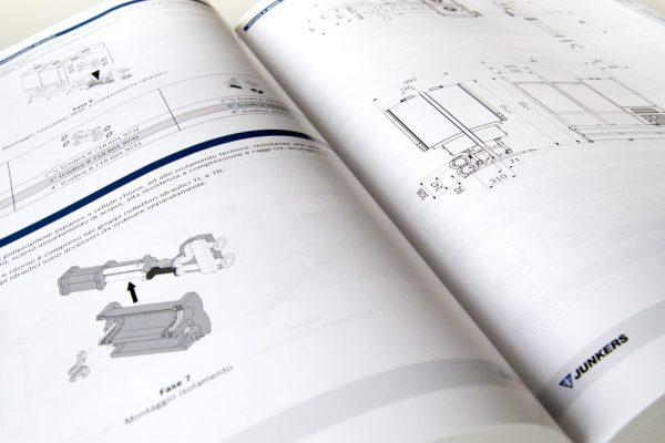 Dettaglio pagina di disegni tecnici del catalogo dell'intera gamma prodotti, sistemi ed accessori Junkers