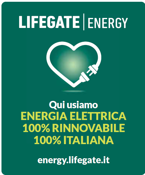 Locandina Lifegate Energy qui usiamo energia pulita 100% rinnovabile 100% italiana